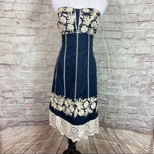 BETH BOWLEY Navy Ivory Embroidered  Dress